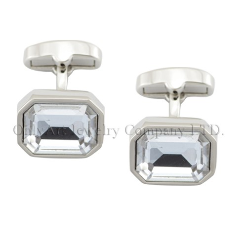 concise and luxury design with BIG CZ inlaid PNP plated brass cufflinks