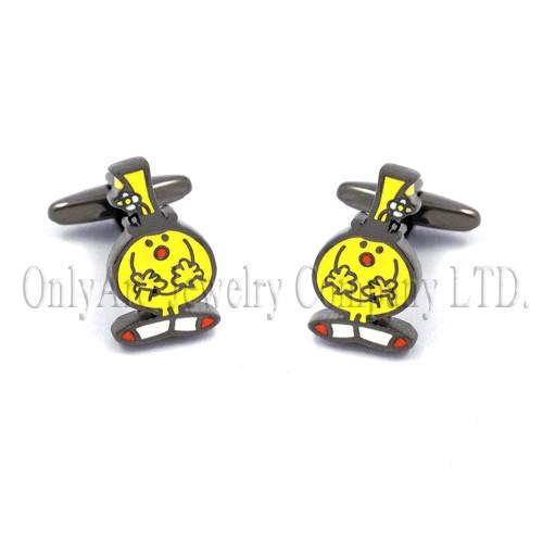 cute logo and high quality nickel free with enamel brass cufflink