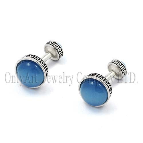 blue onyx stone inlaid fashion brass or sterling silver 925 cuff links