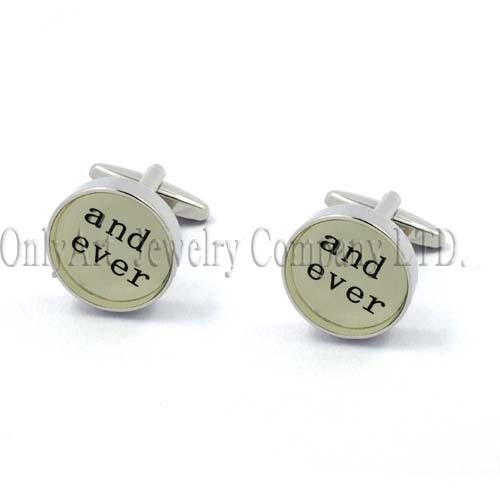 and ever word sign shiny polish and nickel free templing cufflink