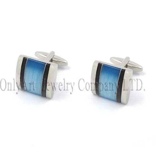 blue cat's eye and onyx inlaid nickel free and PNP plated elegant cufflink