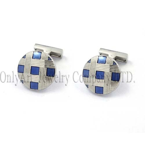 grilled design with enamel shiny polished mechanical backing cufflink