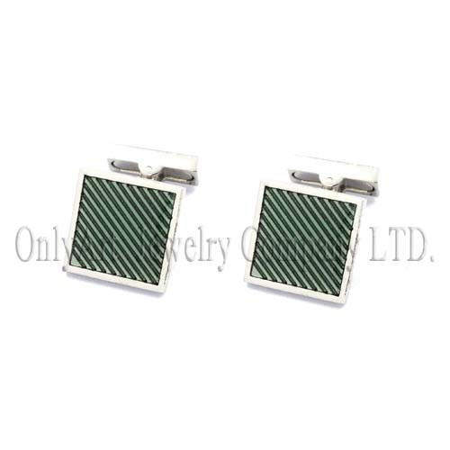 green enamel and nickel free with mechanical backing glitter cufflink