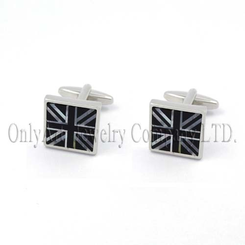 USA flag sign stone inlaid nickel free and shiny polish square cufflink