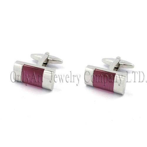 cheap oval-bar graceful and elegant red stone inlaid cufflink