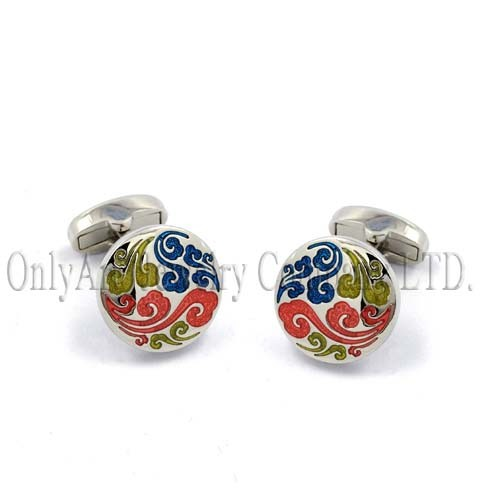 durable mechanical backing with colorful enamel cloud cufflink