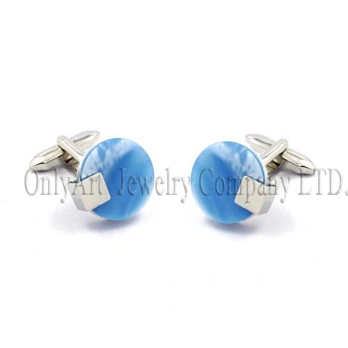 PNP plating and nickel free delicate blue mother of pearl cufflink