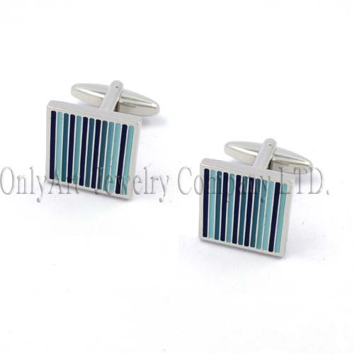 vertical bar with colorful enamel nickel free fashionable cufflink