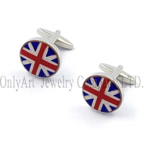 round American flag design high quality enamel cufflink