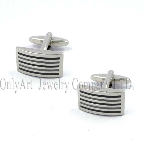 yellow gold or rose gold plating are ok striped enamel huggable cufflink