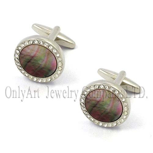 twinkling AAA CZ with mother of pearl cufflink