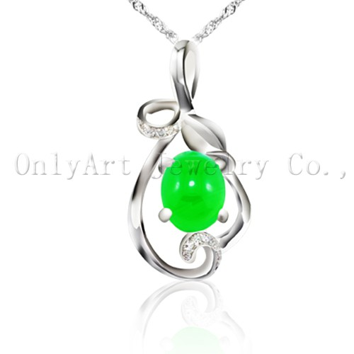 Top quality genuine green jade sterling sivler pendant