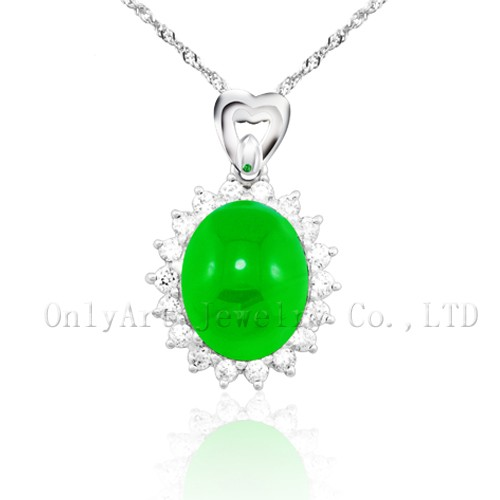 High quality fashion sterling jade silver pendant for lady