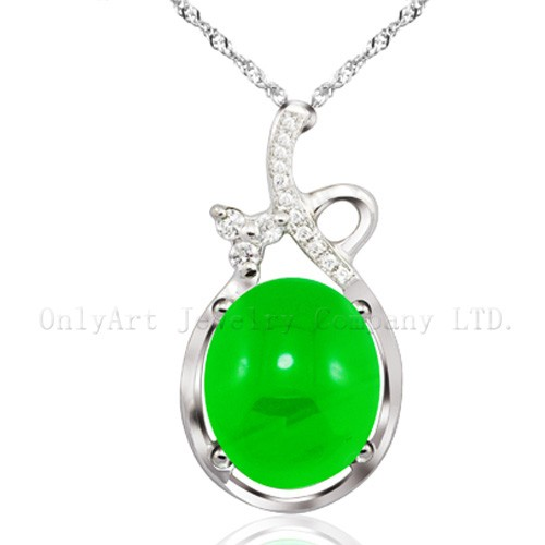 Big genuine oval green jade sterling sivler pendant
