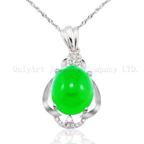 New design Chinese jade jewelry silver pendant