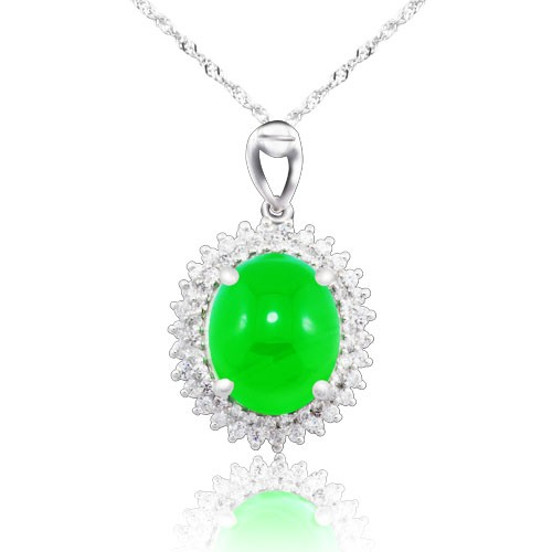 Shiny polished rhodium jade sterling silver pendant