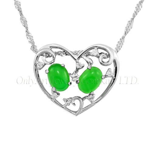 Antique design silver jade heart pendant for wedding