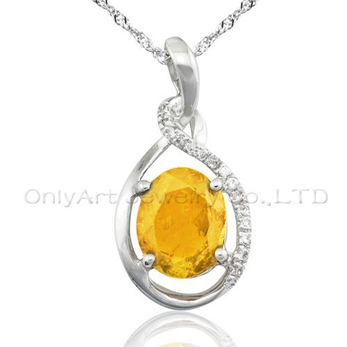 hot sales yellow CZ 925 sterling silver pendant
