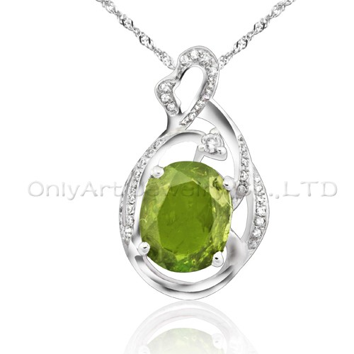 high quality fashion gemstone silver pendant for lady