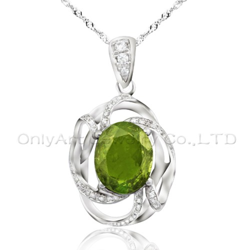 big oval CZ 925 sterling silver new pendant