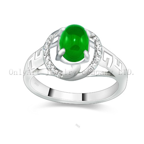 Hotsales Factory Price  Jade Sterling Silver 925 Ring