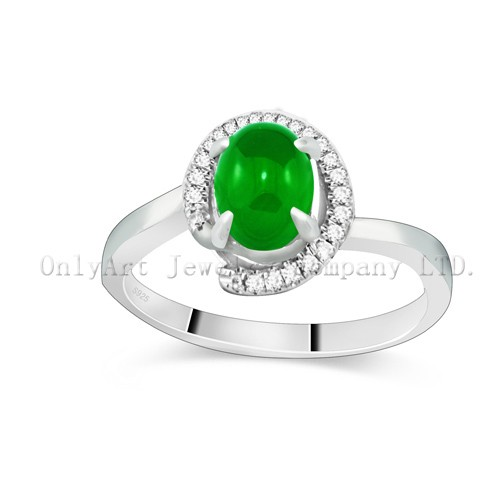 Factory Price Fashion Jewelry  Jade Sterling Silver 925 Ring