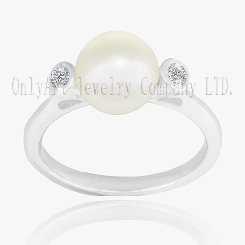 Simple Natural Pearl On Sterling Silver 925 Ring