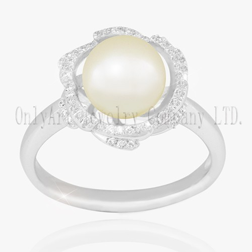 Pearl On Sterling Silver 925 Ring Fine Jewelry