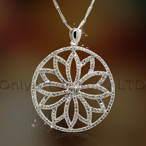 antique high quality fashional design unique 925 sterling silver flower shaped pendant with cz paypa