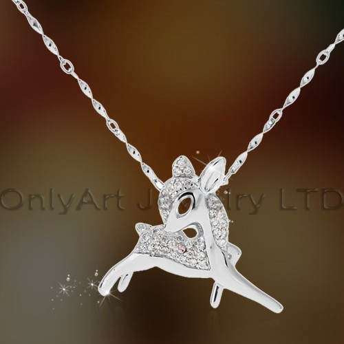 Fashion Cute Deer Sterling Silver Pendant With Cz Stone Paypal Acceptable OAP0057