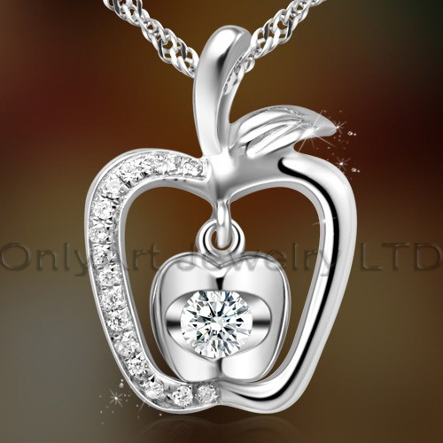 2013 latest design 925sterling silver apple-shape pendant jewelry with prompt delivery paypal accept