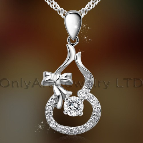fashionable quality christmas gift gingle bell CZ silver pendant neckalce