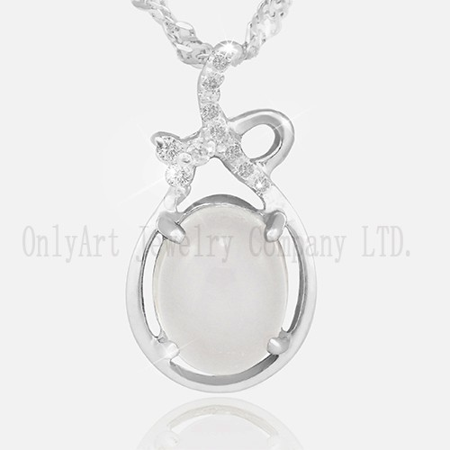 Pearl Or Jade Gemstone Inlaid 925 Sterling Silver Women's Pendant