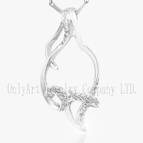 newest design shiny AAA CZ inlaid 925 silver pendant