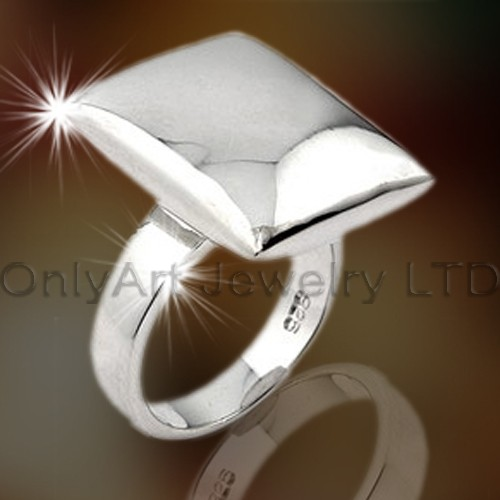 Men Square Silver Rings OAR0008