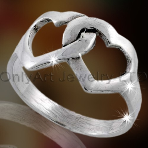 Two Heart Design Silver Ring OAR0088