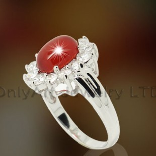 Lady 925 Silver Ring With Red Onyx OAR0127