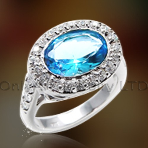 Small Order Blue Stone Silver Ring OAR0169