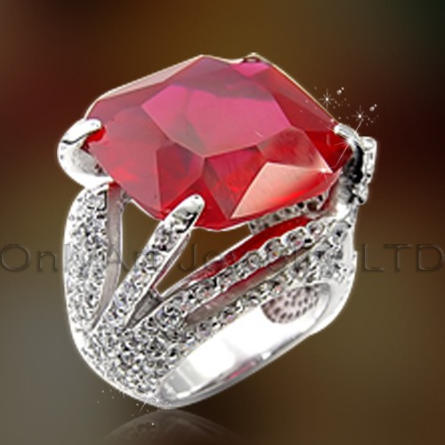 Popular Gift Silver Ring With Big Red Stone OAR0171