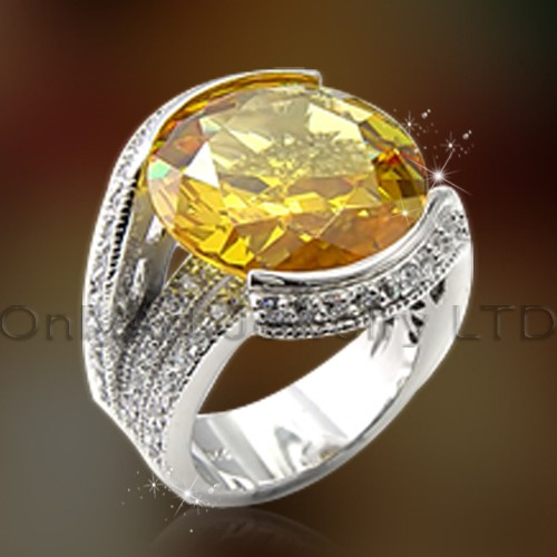 Silver Ring With Big Yellow Stone OAR0172