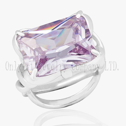 Exquisite Pink CZ Inlaid Shiny Polished Women's 925 Silver Ring
