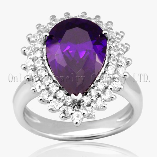 Purple Stone Pure Sterling Silver Ring