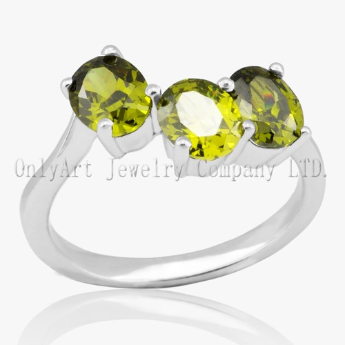 Light Green Stone Solid Sterling Silver Ring