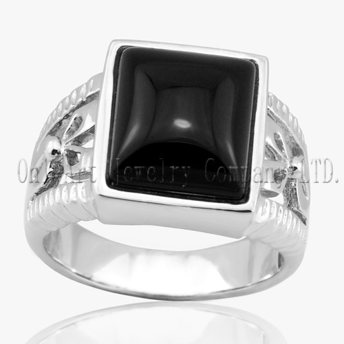 925 Sterling Silver Men Black Onyx Stone Ring