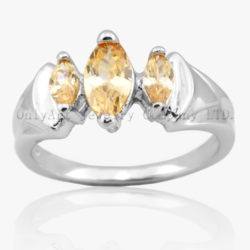 Three Orange CZ 925 Silver Ring Rhodium Plated And Comfort Fit With Top Quality