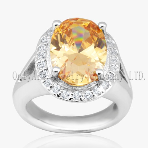 Yellow 925 Sterling Silver Cubic Zircon Ring