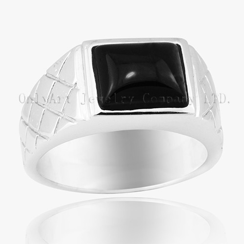 Black Onyx Inlaid Shiny Polished 925 Sterling Silver Ring
