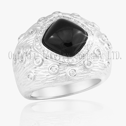 New Black Onyx Women CZ 925 Silver Ring