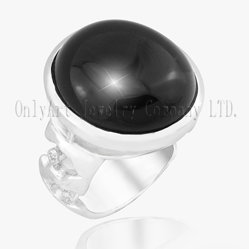 The Newest Design Delicate Black Gemstone Inlaid Comfort Fit 925 Silver Ring