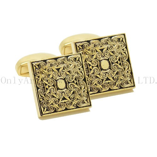 fashion 18k gold plated with black painting brass cufflink